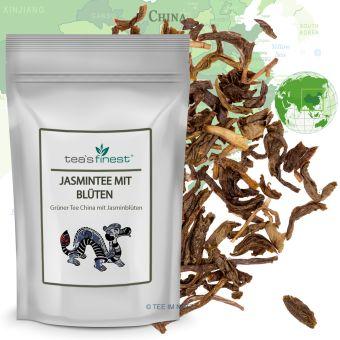 Grüner Tee Jasmintee mit Blüten 100 Gramm