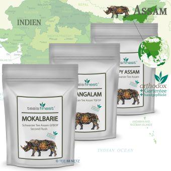 Schwarzer Tee Assam Probierset 3 x 50 Gramm