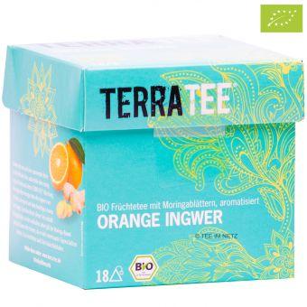Terra Tee® Früchtetee mit Moringablättern Orange Ingwer/ BIO 18 x 2.5 g